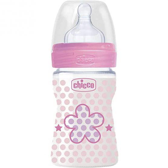 Chicco Biberon Plastique 150ml Rose Nouveau-Né
